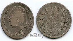 Tres Rare Monnaie 2 Francs Louis XVIII Argent 1824 I (limoges) @ Petit Tirage