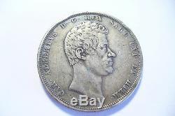 Très Rare Monnaie Argent Carlo Albert 1833 Turin Aigle Ttb+ / 5 Lire Italie