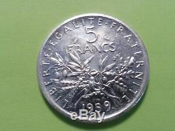 Très Rare Monnaie Argent Essai 5 Frs Semeuse 1959 France A Voir Sup+