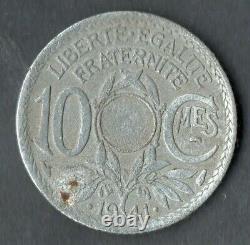 Tres Rare Monnaie Fautee De 10 Centimes Lindauer De 1941 @ Non Perce / Non Troue