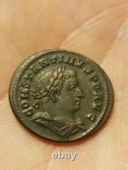 Tres Rare Monnaie Romaine De Constantin 1er Revers Mars Casquee
