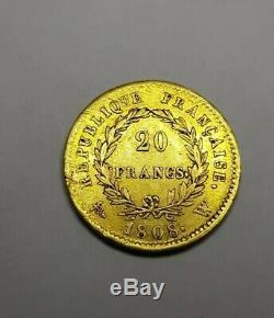 Très Rare Monnaie pièce 20 francs or Napoléon I 1808 Lille SUP french gold coin