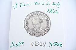 Très Rare Pièce -1 Franc Henri V Argent 1831 Sup+! (05/17)