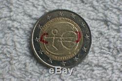 Tres Rare Piece 2 Euro Fautee U E M 1999-2009 Republique Francaise
