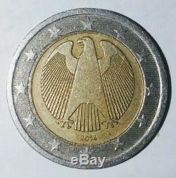 Très Rare Pièce 2 Euro cerclage du coeur fauté Allemagne De 2014 (atelier A)