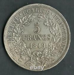 Très Rare Qualité 5 Francs Argent Cérès 1849 A Paris