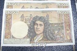 Très Rare Série Billet 500 Frs Molière N° Suivant 05/09/1963 Sup+! A Voir
