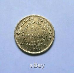 Très belle et rare pièce de 20 francs or 1807 A Napoleon I tête laurée