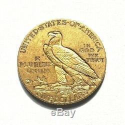 Très belle et rare pièce de 5 dollars or indien 1908 Philadelphie