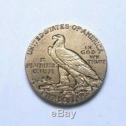 Très belle et rare pièce de 5 dollars or indien 1909 S San Francisco