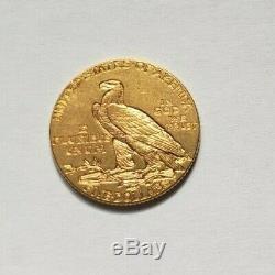 Très belle et rare pièce de 5 dollars or indien 1912 Philadelphie