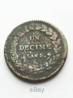 Très rare 1 décime dupré l'an 5 A, portrait de marianne de la 5 centimes dupré