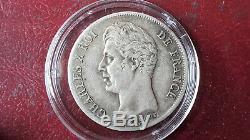 Très rare 1 franc Charles X, matrice du revers à cinq feuilles 1828 L (Bayonne)