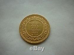 Tres rare 1310(1893) tunisie 20 francs or 1892 35 000ex gold oro