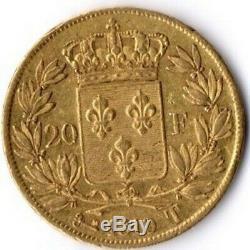 Très rare 20 Francs Or Louis XVIII 1819 T
