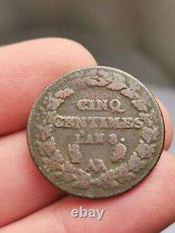 Très rare 5 centimes dupré l'an 8/5 AA/T, casque/ ancre! 9,37 g