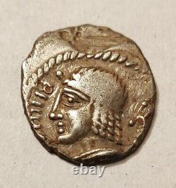 Très rare! Denier Gaulois Belenoc au temple, argent, Celtic coin DT2658