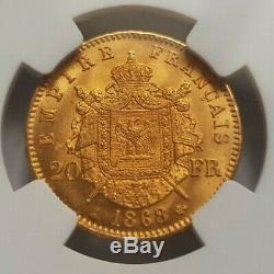 Très rare et exceptionnelle pièce de 20 francs or 1868 A Napoleon III NGC MS65