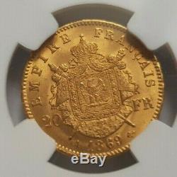 Très rare et exceptionnelle pièce de 20 francs or 1869 A Napoleon III NGC MS64