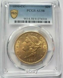 Très rare et magnifique pièce de 20 dollars or 1890 CC Carson City PCGS AU58