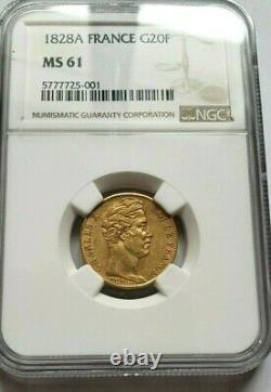 Très rare et magnifique pièce de 20 francs or 1828 A Charles X NGC MS61