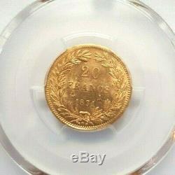 Très rare et slendide pièce de 20 francs or 1831 A Louis Philippe PCGS MS62