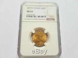 Très rare et splendide pièce de 20 francs 1879 A NGC MS63 variété ancre barrée