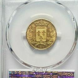 Très rare et splendide pièce de 20 francs or 1819 A Louis XVIII MS 62 PCGS