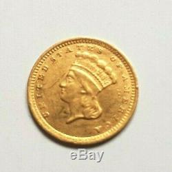 Très rare et superbe pièce de 1 dollar or 1857 Liberty Charlotte GOLD