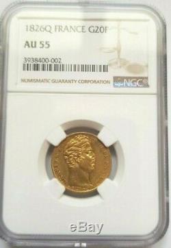 Très rare et superbe pièce de 20 francs 1826 Q Perpignan NGC AU55