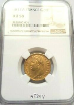 Très rare et superbe pièce de 20 francs or 1811 W Napoleon I NGC AU58 qualité