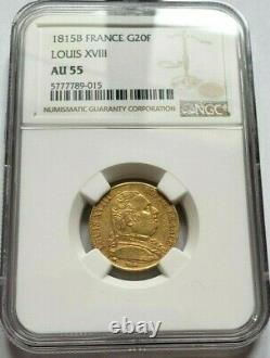 Très rare et superbe pièce de 20 francs or 1815 B Louis XVIII NGC AU55