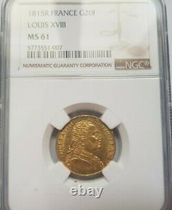 Très rare et superbe pièce de 20 francs or 1815 Louis XVIII Londres NGC MS61