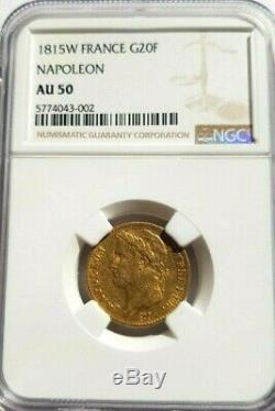 Très rare et très belle pièce 20 francs or 1815W Napoleon I cent jours NGC AU50