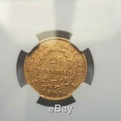 Très rare et très belle pièce de 20 francs or 1809 L Napoleon I NGC XF45