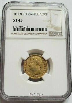 Très rare et très belle pièce de 20 francs or 1813 CL Napoleon I NGC XF45