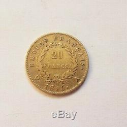 Très rare et très belle pièce de 20 francs or 1815 A Napoleon I Cent jours