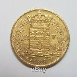 Très rare et très belle pièce de 20 francs or 1818 T Louis XVIII
