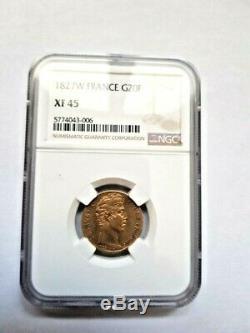 Très rare et très belle pièce de 20 francs or 1827 W Charles X NGC XF45