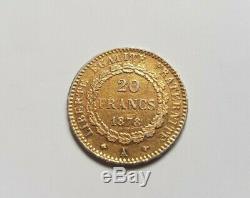 Très rare et très belle pièce de 20 francs or 1878 A faux en platine
