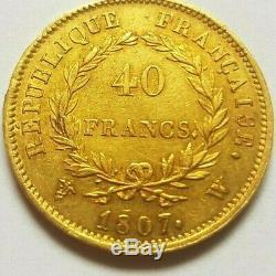 Très rare et très belle pièce de 40 francs or 1807 W Lille Napoleon I