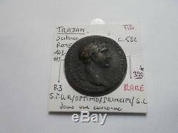 Très rare et très joli sesterce de Trajan, Rome 103-111