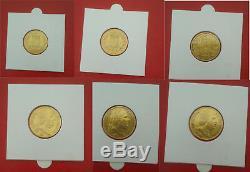 Très rare, lot de 20 Francs Or Louis XVIII 1818T, 1819T, 1820T. Lot complet