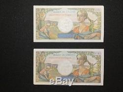 Très rare lot de deux billets de réserve de 1000 frs de la Banque de l'Algérie