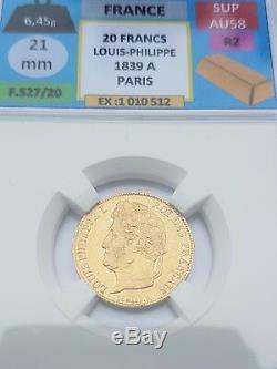 Trés rare superbe 20 Francs Or 1839 A Louis Philippe tête laurée