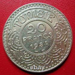 Tunisie. Très rare 20 Francs Ahmed Bey. Argent. AH 1353 (1934). 9500 ex. SUP+