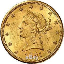 USA 10 Dollars 1891 CC Carson City Splendide SPL/MS++ très rare état very rare