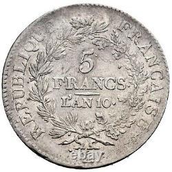 Union et Force 5 Francs AN 10 Bayonne Très bel exemplaire rare