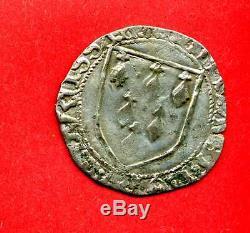 (f. 73) Anne De Bretagne Gros A L'ecu (rennes) 1488-1491 Très Rare (ttb)