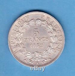 (rf. 58) Monnaie De 5 Francs Louis Napoléon 1852 A Spl (etat Très Rare)